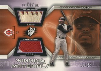 2002 SPx Winning Materials Ball Patch Combos #PCKG Ken Griffey Jr.
