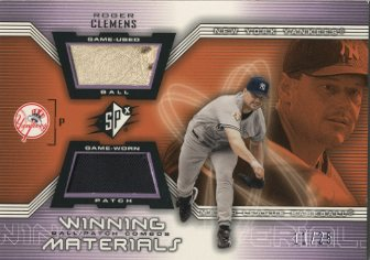 2002 SPx Winning Materials Ball Patch Combos #PCRC Roger Clemens