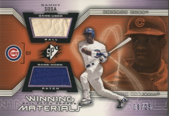 2002 SPx Winning Materials Ball Patch Combos #PCSS Sammy Sosa
