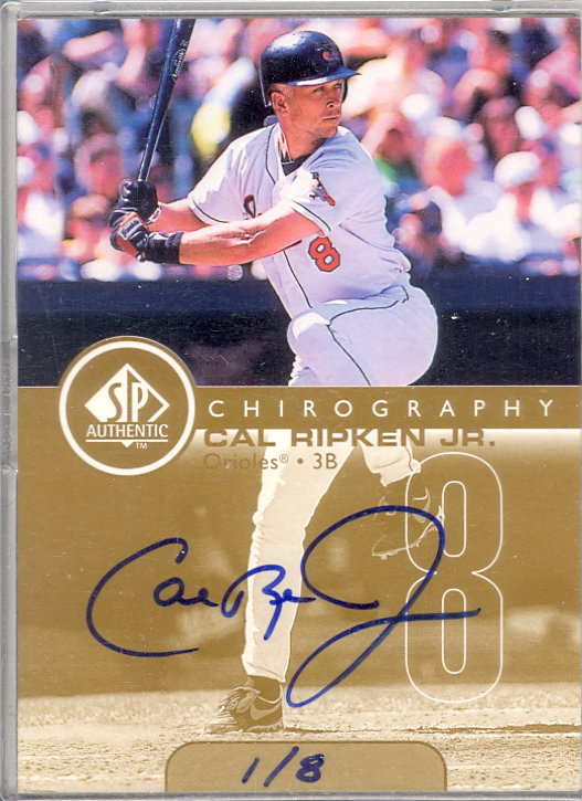 1999 SP Authentic Chirography Gold #CR Cal Ripken/8 front image