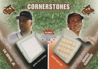 2002 Fleer Platinum Cornerstones Memorabilia #11 Cal Ripken Jsy/Brooks Robinson Bat
