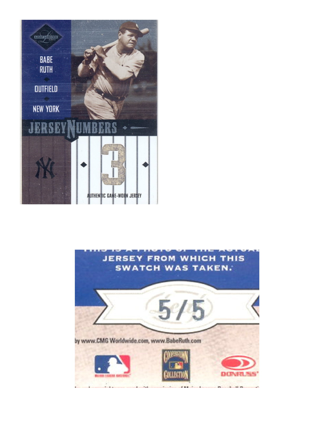2003 Leaf Limited Jersey Numbers #17 Babe Ruth/5