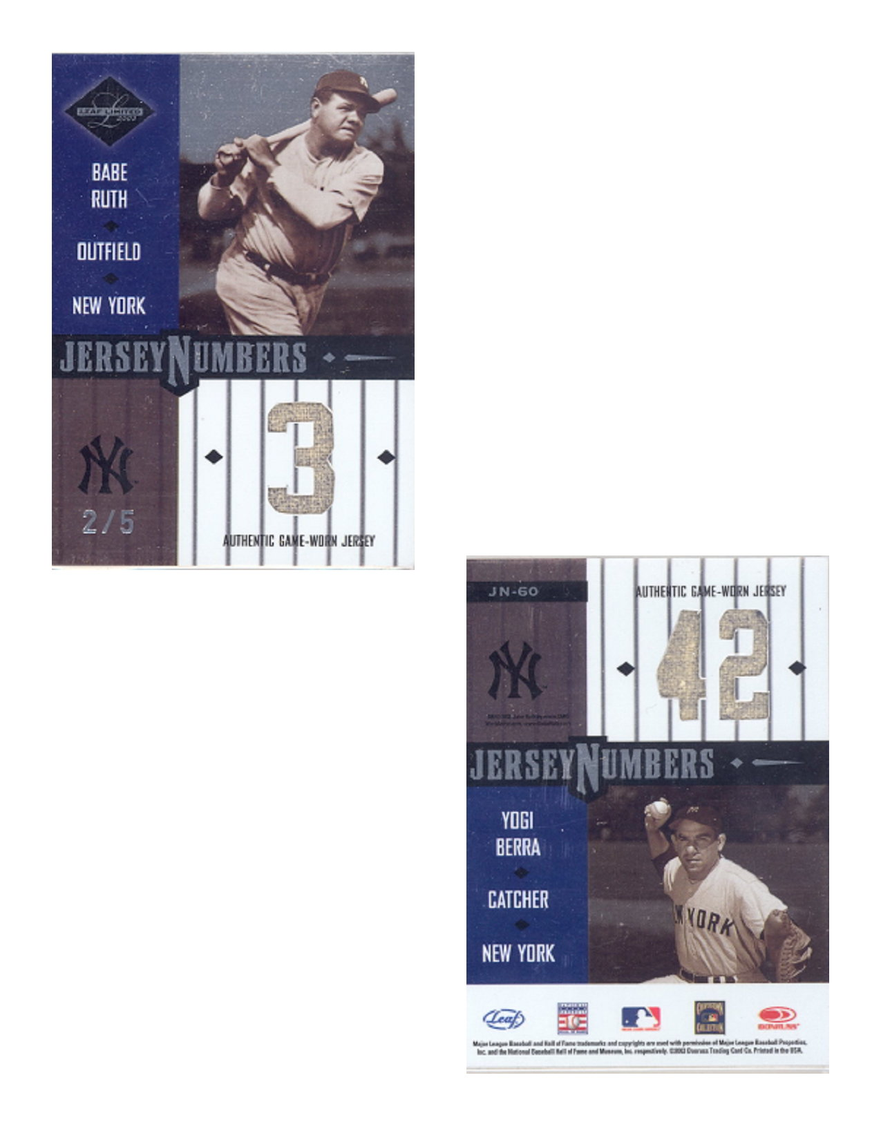 2003 Leaf Limited Jersey Numbers #60 Babe Ruth/Yogi Berra/5