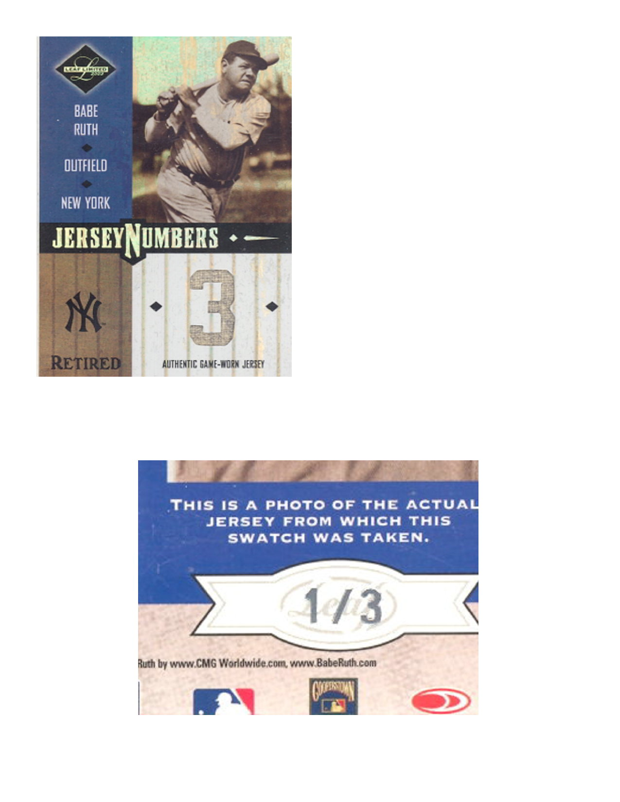 2003 Leaf Limited Jersey Numbers Retired #17 Babe Ruth/3
