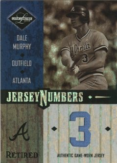 2003 Leaf Limited Jersey Numbers Retired #28 Dale Murphy/3