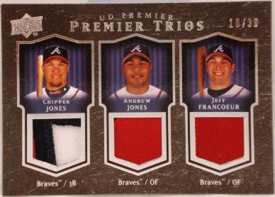 2008 Upper Deck Premier Trios Patches #JJF Chipper Jones/Andruw Jones/Jeff Francoeur