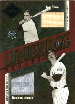 2003 Leaf Limited Lumberjacks Bat-Jersey Black #41B Yogi Berra Bat/Thurman Munson Jsy/5