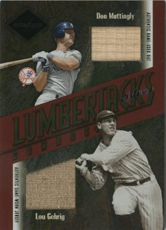2003 Leaf Limited Lumberjacks Bat-Jersey Silver #40B Don Mattingly Bat/Lou Gehrig Jsy/5