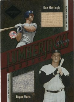 2003 Leaf Limited Lumberjacks Bat-Jersey Silver #44 Don Mattingly Bat/Roger Maris Pants/5