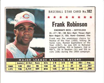1961 Post #182B Frank Robinson BOX front image