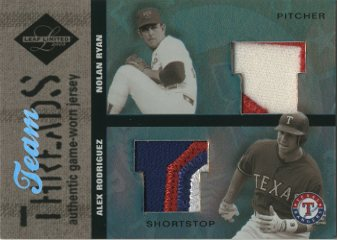 2003 Leaf Limited Team Threads Prime #26 Alex Rodriguez/Nolan Ryan/10