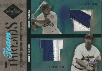 2003 Leaf Limited Team Threads Prime #27 Mike Piazza/Hideo Nomo/10
