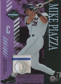 2003 Leaf Limited Threads Button #64 Mike Piazza Mets H