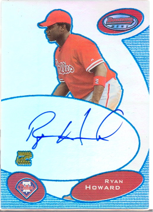 2003 Bowman's Best Blue #RH Ryan Howard FY AU