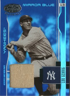 2003 Leaf Certified Materials Mirror Blue Materials #202 Lou Gehrig RET Pants/10