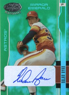 2003 Leaf Certified Materials Mirror Emerald Autographs #72 Nolan Ryan Astros