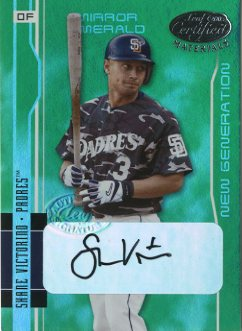 2003 Leaf Certified Materials Mirror Emerald Autographs #246 Shane Victorino NG