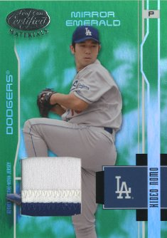 2003 Leaf Certified Materials Mirror Emerald Materials #86 Hideo Nomo Jsy
