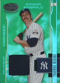 2003 Leaf Certified Materials Mirror Emerald Materials #205 Thurman Munson RET Jsy