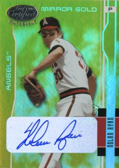 2003 Leaf Certified Materials Mirror Gold Autographs #4 Nolan Ryan Angels/5