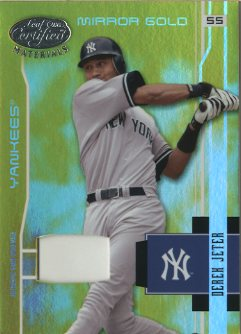 2003 Leaf Certified Materials Mirror Gold Materials #121 Derek Jeter Base
