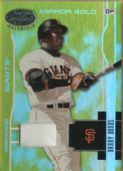 2003 Leaf Certified Materials Mirror Gold Materials #161 Barry Bonds Base