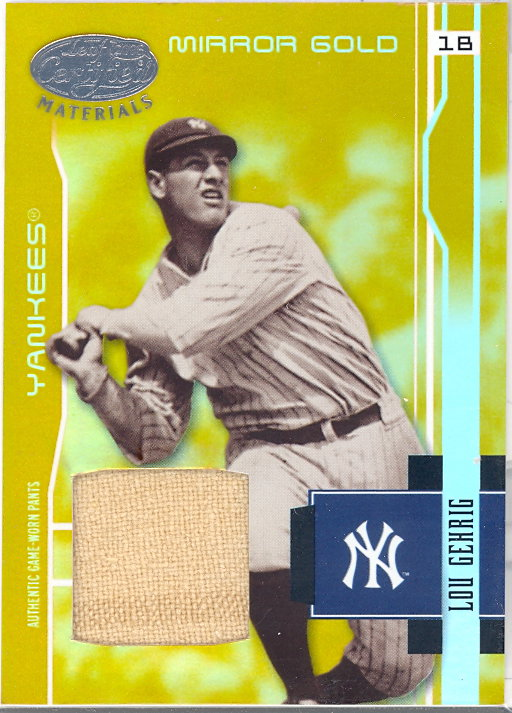 2003 Leaf Certified Materials Mirror Gold Materials #202 Lou Gehrig RET Pants/5