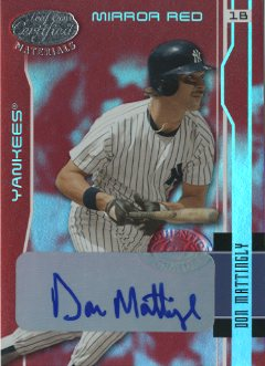 2003 Leaf Certified Materials Mirror Red Autographs #119 Don Mattingly/5