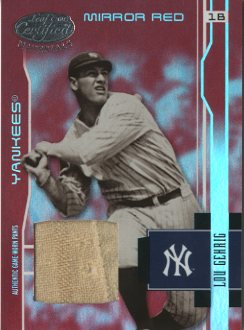 2003 Leaf Certified Materials Mirror Red Materials #202 Lou Gehrig RET Pants/15