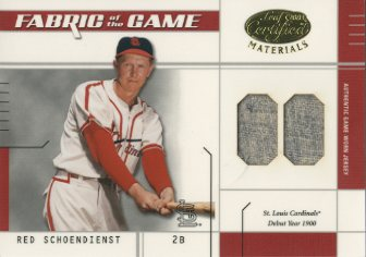 2003 Leaf Certified Materials Fabric of the Game #6DY Red Schoendienst DY/1