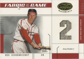 2003 Leaf Certified Materials Fabric of the Game #6JN Red Schoendienst JN/2