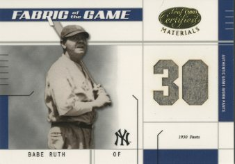 2003 Leaf Certified Materials Fabric of the Game #13JY Babe Ruth Pants JY/30