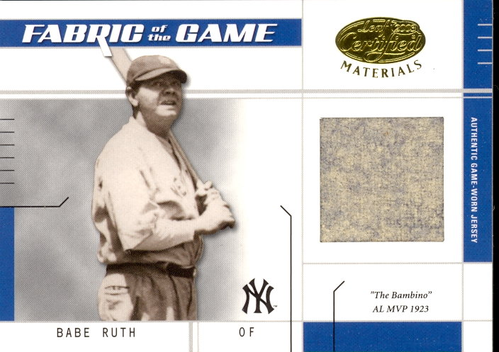 2003 Leaf Certified Materials Fabric of the Game #15IN Babe Ruth IN/10