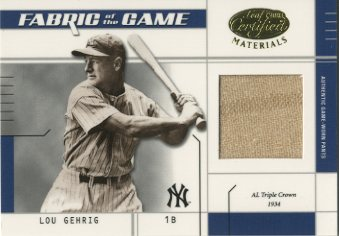 2003 Leaf Certified Materials Fabric of the Game #20IN Lou Gehrig Pants IN/10