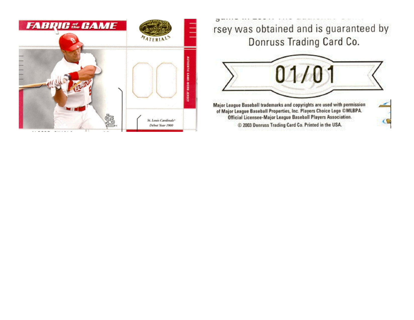 2003 Leaf Certified Materials Fabric of the Game #28DY Albert Pujols DY/1