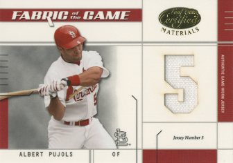 2003 Leaf Certified Materials Fabric of the Game #28JN Albert Pujols JN/5