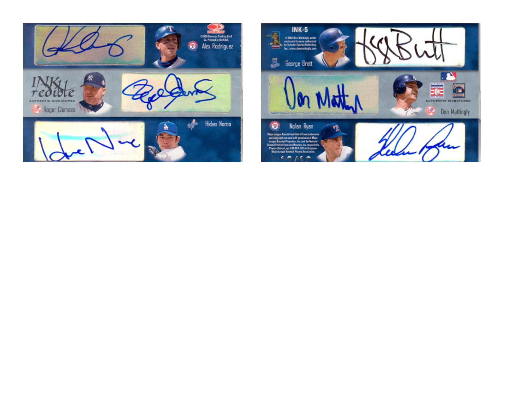2003 Donruss Signature INKredible Six #5 Alex Rodriguez/Roger Clemens/Hideo Nomo/George Brett/Don Mattingly/Nolan Ryan