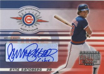 2003 Donruss Signature Team Trademarks Autographs Notations #29B Ryne Sandberg Cubs/5