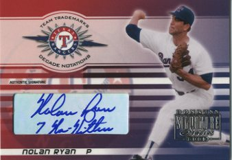 2003 Donruss Signature Team Trademarks Autographs Notations Decade #22 Nolan Ryan Rgr 7 No Hitters