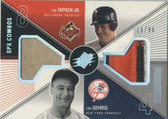2003 SPx Game Used Combos #CL Cal Ripken Patch/Lou Gehrig Pants/90