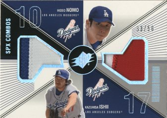 2003 SPx Game Used Combos #NI Hideo Nomo Patch/Kazuhisa Ishii Patch/50