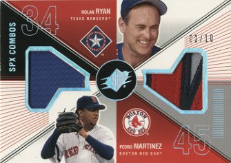 2003 SPx Game Used Combos #RY Nolan Ryan Patch/Pedro Martinez Patch/10