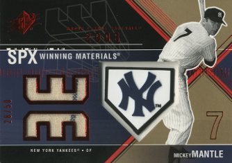 2003 SPx Winning Materials 50 #MM2A Mickey Mantle Pants Logo