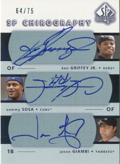 2003 SP Authentic Chirography Triples #GSG Grif/Sosa/Giam/75 EX