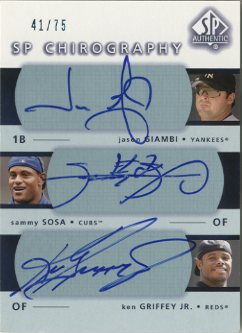 2003 SP Authentic Chirography Triples #GSJ Giam/Sosa/Grif/75 EX