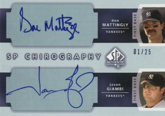 2003 SP Authentic Chirography Doubles #MG Don Mattingly/Jason Giambi/25