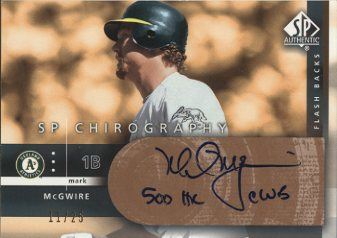2003 SP Authentic Chirography Flashback Bronze #MA Mark McGwire/25