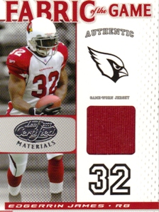 2007 Leaf Certified Materials Fabric of the Game #34 Edgerrin James