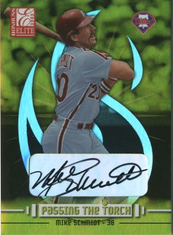 2003 Donruss Elite Passing the Torch Autographs #15 Mike Schmidt/Pat Burrell