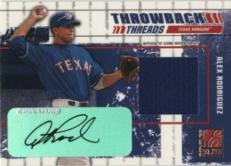 2003 Donruss Elite Throwback Threads Autographs #9 Alex Rodriguez Rgr/5